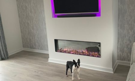 electric fire and TV