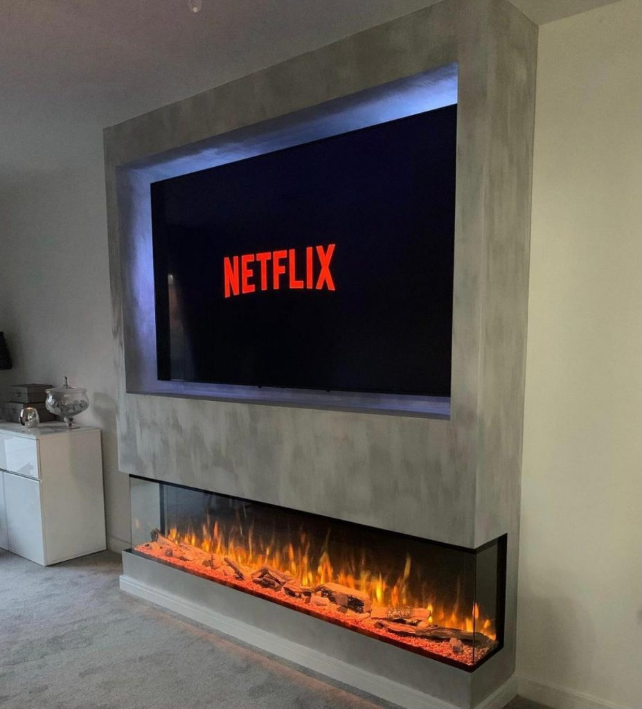 mounted electric fire with TV